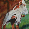 painting entitled Brayford Cow and Calf