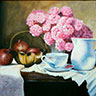 painting of a white pitcher, cup, & saucer, brass bowls, pomegranates, and pink roses on a table cover with a white cloth entitled Heirloom Roses