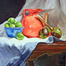 painting of an orange pitcher with limes in a blue bowl and maraccas on a table with white drapery entitled The Orange Pitcher