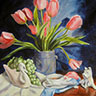 painting of pink tulips & 2 white china figurines entitled White China Swan